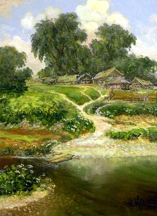 картины деревня: